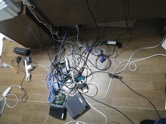 パソコン配線整理前1